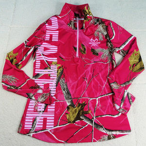 Realtree Xtra Pink Camo Quarter Zip Jacket X-Large